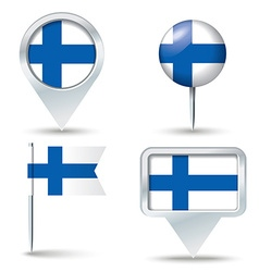 Map pins with flag of finland vector