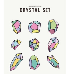 Colorful retro crystal set of icons vector