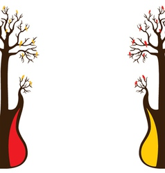 Abstract guitar tree and bird vector
