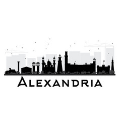Alexandria city skyline black and white silhouette vector