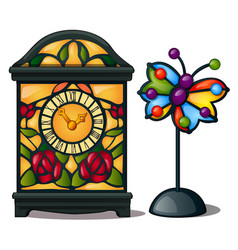 Ancient clock and butterfly stained glass vector