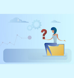 business woman with question mark pondering vector image
