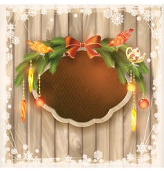 Christmas frame board garland ornaments birds vector