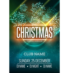 Christmas party poster design with fireworks light vector