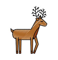 christmas reindeer animal horned funny decoration vector image