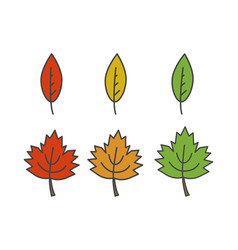 colorful leaves flat icons set vector image vector image