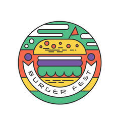 Creative round-shaped logo for burger fest line vector