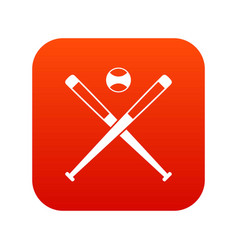 crossed baseball bats and ball icon digital red vector image