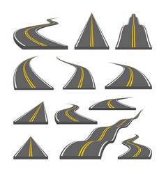 Curved and ditrection highway with markings vector