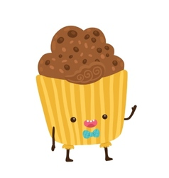 cute cartoon cupcake character vector image vector image