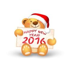 Cute christmas teddy bear with the 2016 vector
