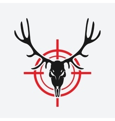Deer skull on red target vector