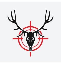 deer skull on red target vector image vector image