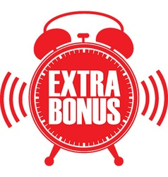 Extra bonus red alarm clock vector