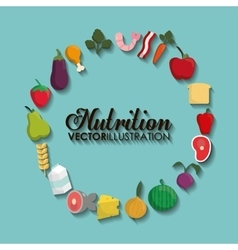 Food icon set Nutrition and Organic design vector image
