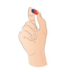Hand With Pill vector image vector image