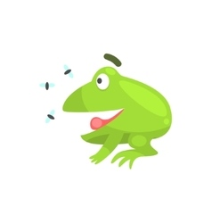 Happy green frog funny character looking at vector
