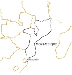 Mozambique hand-drawn sketch map vector