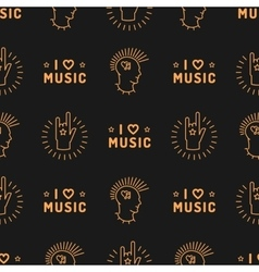 Music seamless pattern punk mohawk hand rock n vector