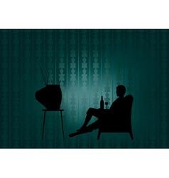 night watching tv vector image vector image