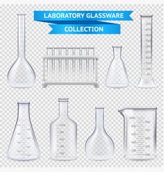 Realistic laboratory glassware collection vector
