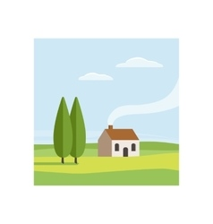 Rural landscape with house vector