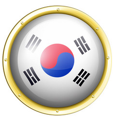 South korea flag on round badge vector