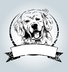 Vintage label with dog head vector image
