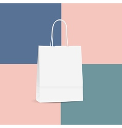 White shopping paper bag isolated on colored vector
