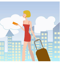 young elegant woman with suitcase vector image vector image