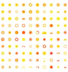 Collection of one hundred sun logo vector