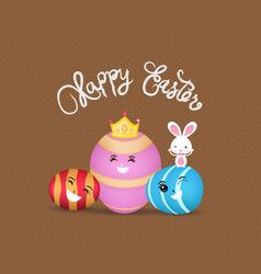 happy easter eggs and bunny greeting card vector image