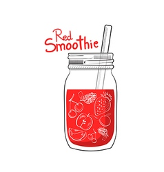 Hand drawn red smoothie jar vector