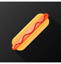 Hot dog icon with long shadow flat style vector