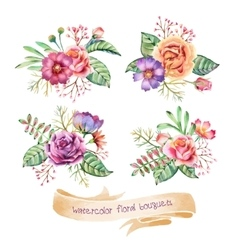 Watercolor bouquets vector