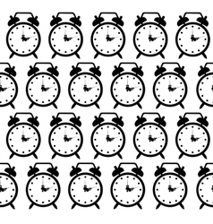 Doodle alarm clock seamless pattern background vector