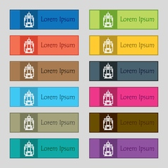 Skyscraper icon sign set of twelve rectangular vector