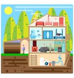 House in cut vector