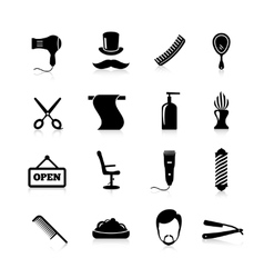 Barber icons black set vector