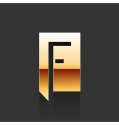 Gold letter f shape logo element vector