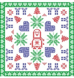Scandinavian nordic winter cross stitch knitting vector