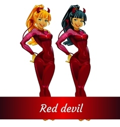 Two girls devils blonde and brunette in red latex vector