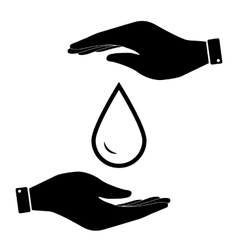 Water drop in hand icon vector
