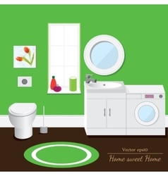 Bathroom interior volume green background vector