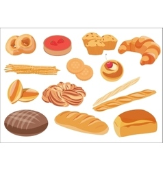 Bakery product assortment set vector