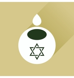 Flat icon with long shadow jewish candle vector