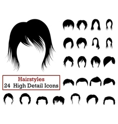 Set of 24 hairstyles icons vector