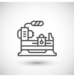 Lathe machine line icon vector