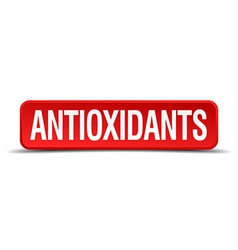 Antioxidants red three-dimensional square button vector