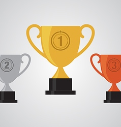 Gold silver bronze winner cup trophy flat design vector